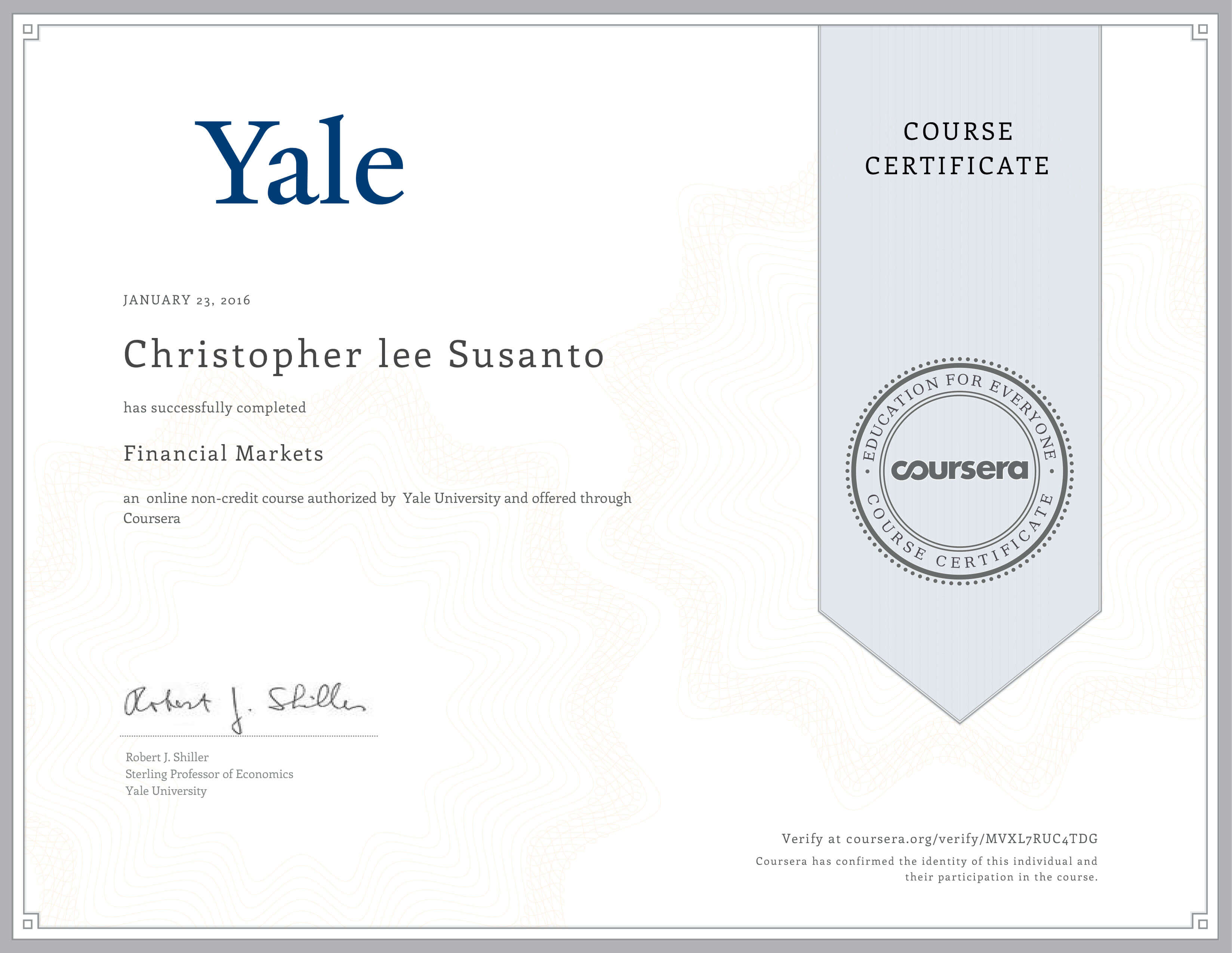 Completed Financial Markets Course by Yale University
